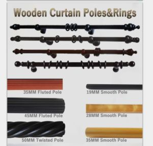 china wooden curtain pole with curtain
