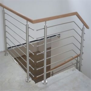 China Stainless Steel Rod Bar Balustrades With Wooden Handrail For   Metal Railing With Wood Handrail   Horizontal Metal   Stair Railings   Flat Bar   Stair Parts   Wrought Iron Balusters