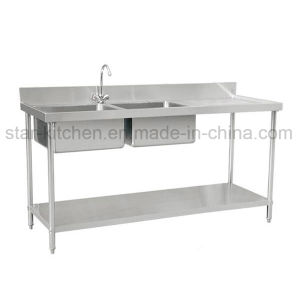 commercial kitchen sink aid gas cooktop china c01 b11 stainless steel double with right grooved board including the lower