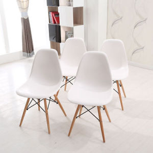 eiffel chair wood legs swivel chairs canada china 4x modern replica dining dsw kitchen office lounge white