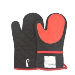 Kitchen Gloves Cabinet Parts China Black Cotton Silicone Oven Mitts Heat Resistant