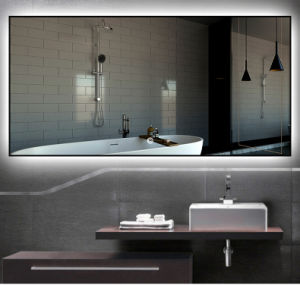 China Framed Smart Bathroom Mirror With Led Lights For Hotel Projects China Hotel And Apartment Illuminated Mirrors Plywood Mirror Cabinet For Motel And Apartment