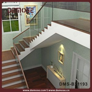China Wood Handrail Frameless Tempered Glass Stair Railing Dms   Tempered Glass Stair Railing   Hand Rail   Glass Design   Toughened Glass   Staircase   Round Staircase