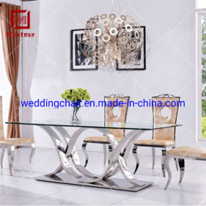 China Modern Furniture Silver Stainless Steel European Dining Table Set China Dining Table Set European Dining Table Set