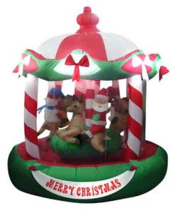 5 Ft Carousel Christmas Characters Riding 26809 1