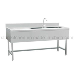 commercial kitchen sink bulbs china c01 b09 stainless steel double with left board without under shelf