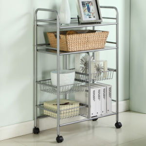 wire kitchen cart pop up electrical outlet counter china 4 tier carbon steel shelving food accessories metal storage trolley shelf