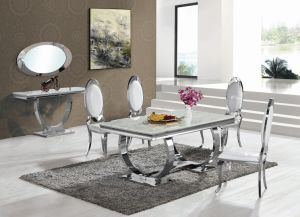 marble living room furniture turquoise white and silver china modern dining top stainless steel leg table