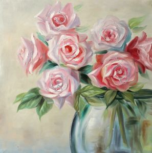 pink rose floral paintings