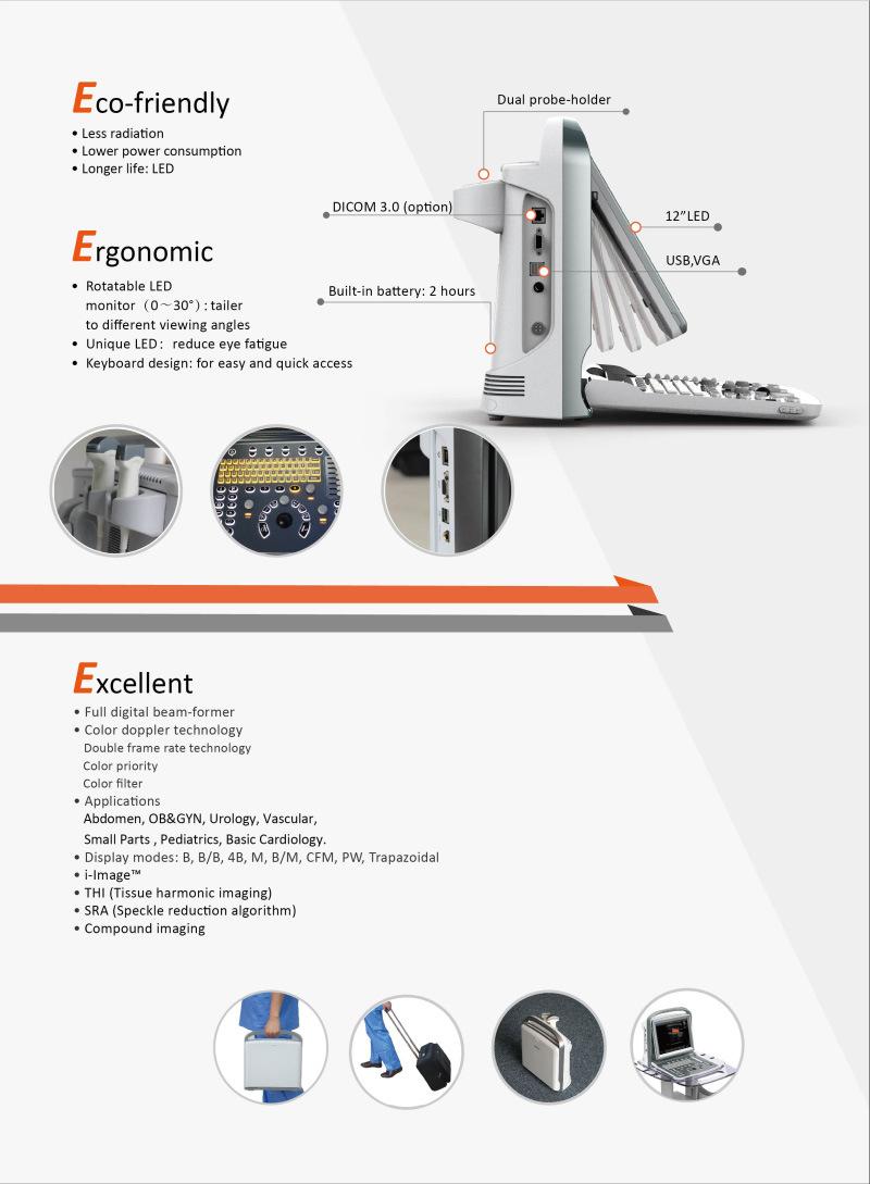 China Portable Color Doppler Ultrasound Machine (MC-DU