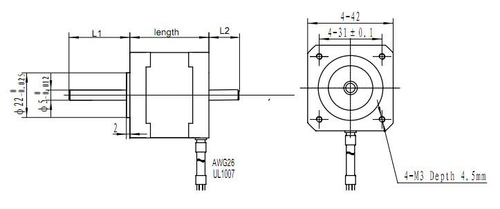 L'axe double 1,68 45ncm NEMA bipolaire 17 pour moteur pas