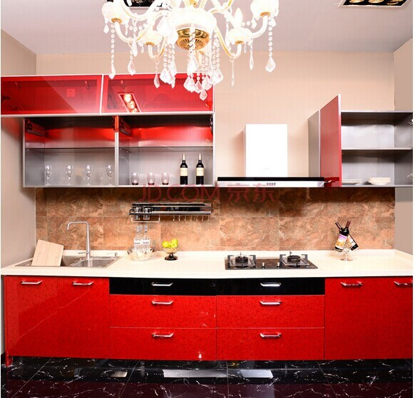 China High Gloss Red Kitchen Cabinet manufacturer
