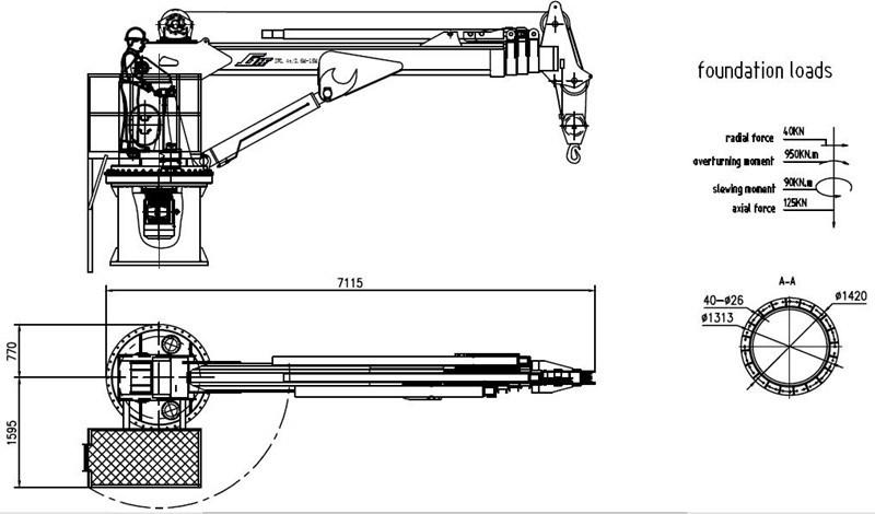 Hydraulic Deck Crane 25 Ton Crane Crane Spare Parts 5 Ton
