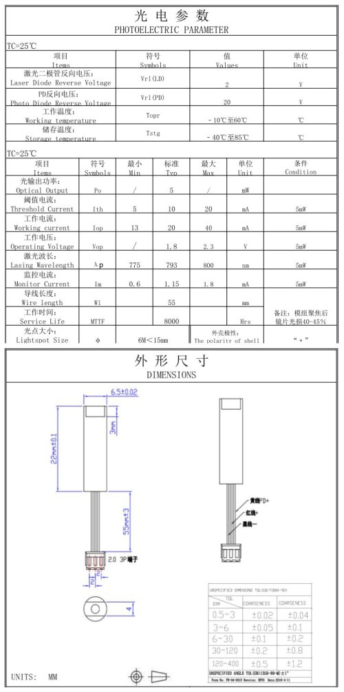 small resolution of remarks we offer professional odm and oem service so the housing size power beam shape beam size and the wire length of the laser module can be