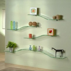 Living Room Glass Shelves Island Style Decorating Wall Mounted Decorative Tempered Shelf For And Bathroom