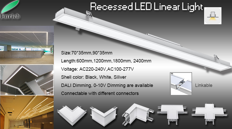 wall recessed led linear light with 90