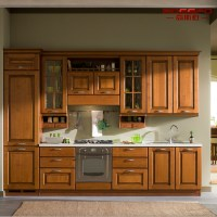 China Modern Painting Solid Teak Wooden Kitchen Cabinet