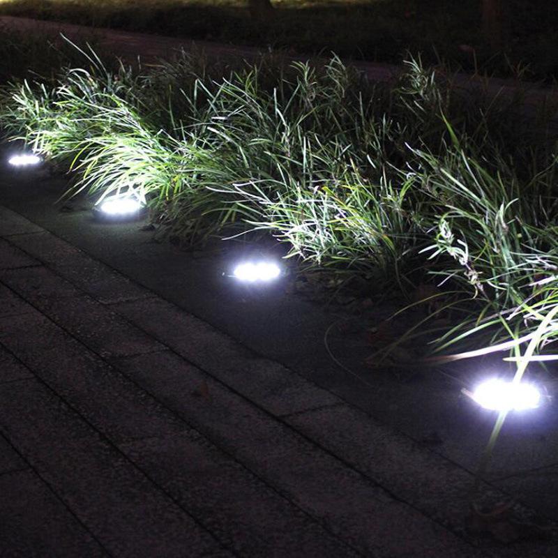 solar ground lights 8 led solar disk