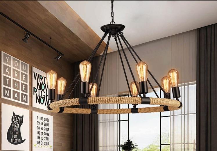 style loft retro hemp rope pendant lamp