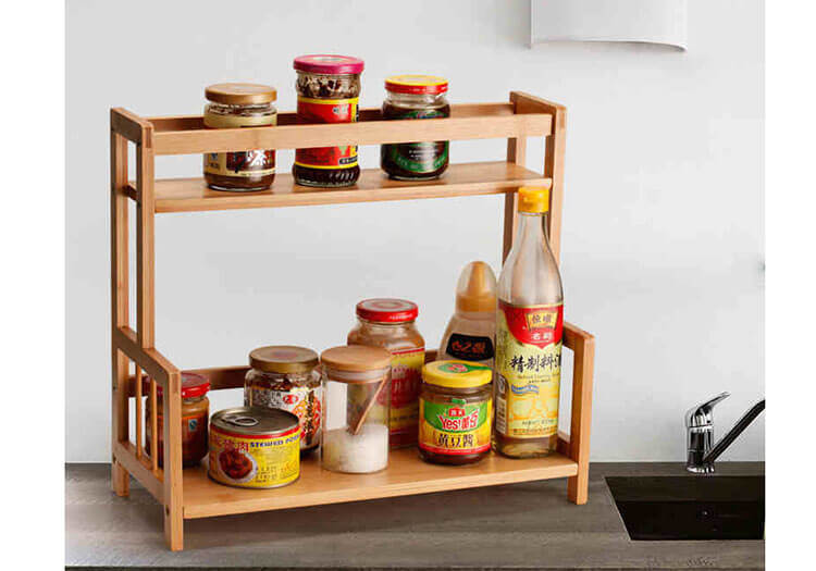 natural bamboo spice rack freestanding