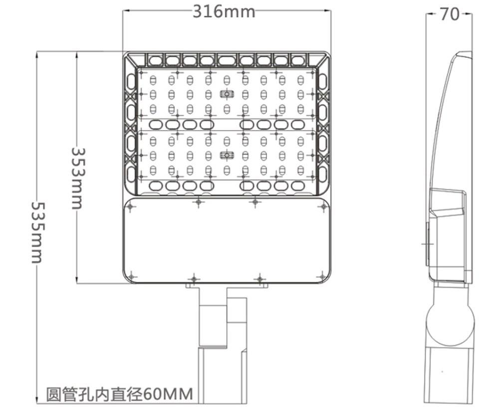 medium resolution of 150w led parking flood light size photocell sensor options