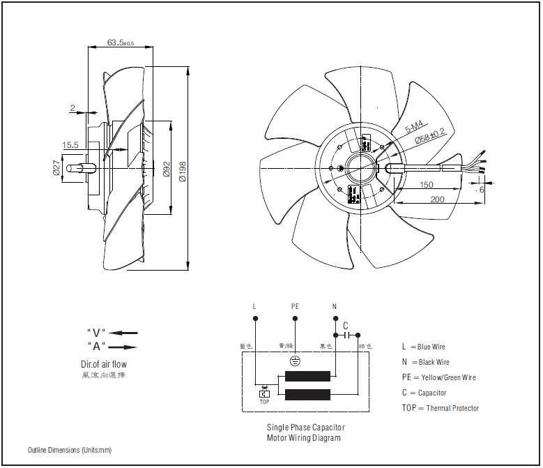 China 200mm Electric Motor Cooling Fan Blade Fj4e-200. V