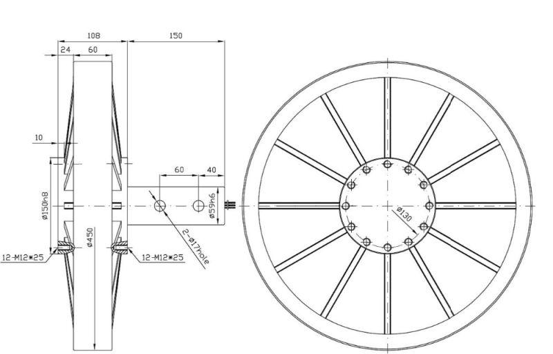 Chine Pmg450 1KW 220VAC 130tr/min Disque Turbine éolienne