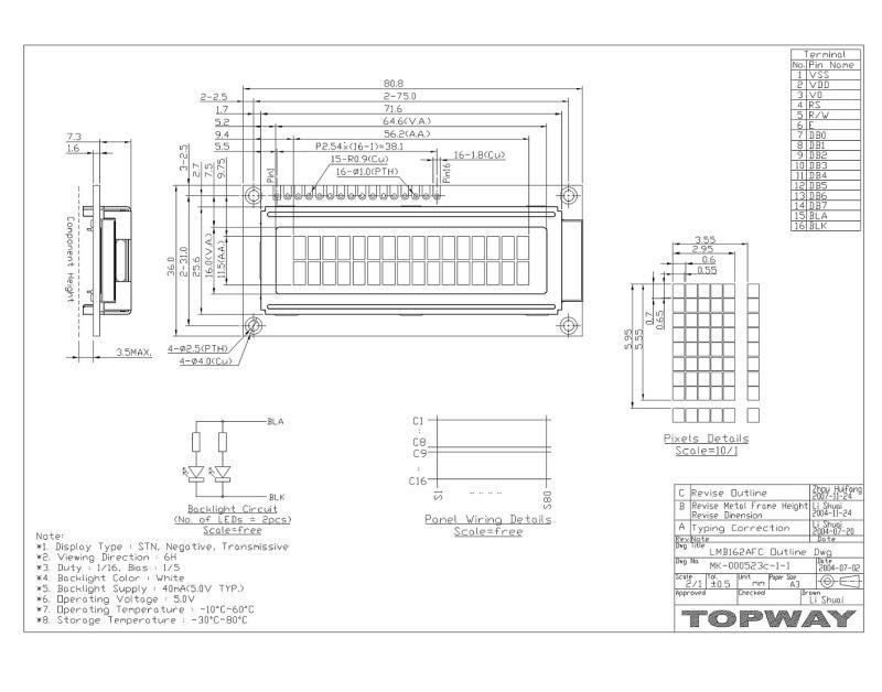 China 16X2 Character Alphanumeric LCD Display (LMB162