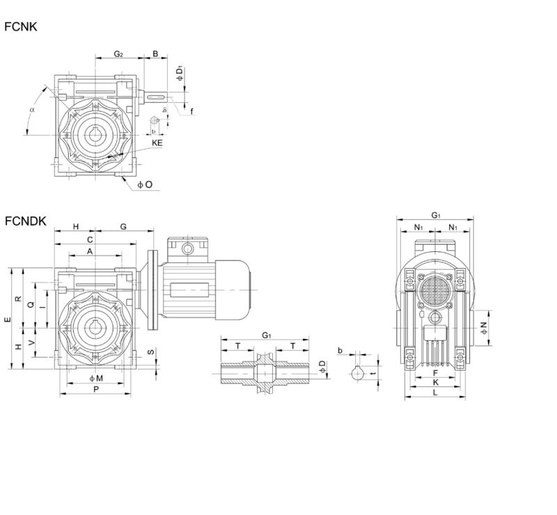 China Nmrv (FCNDK) Worm Wheel Reducer Worm Gearbox Size