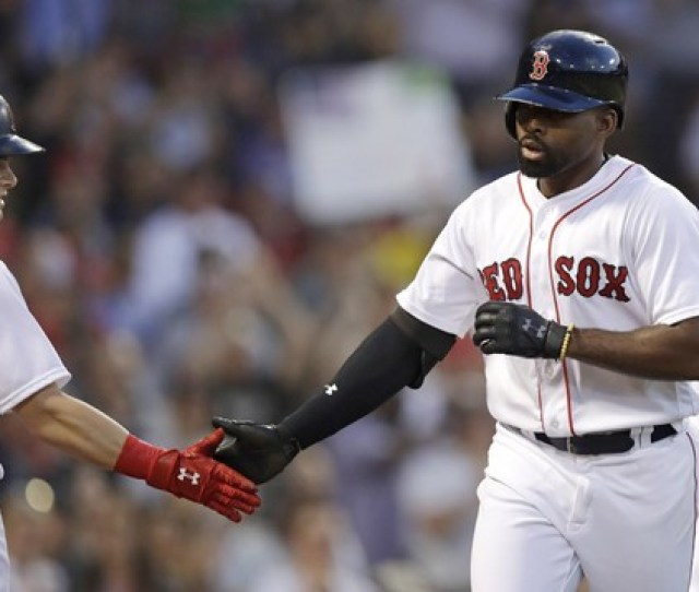 Boston Red Soxs Jackie Bradley Jr Right Is Congratulated By Andrew Benintendi After