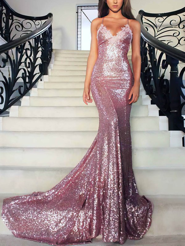 Open Back Mermaid Sequined Beautiful Long Dress for Prom