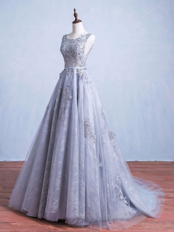 Elegant Ball Gown Silver Inexpensive Long Prom Dresses