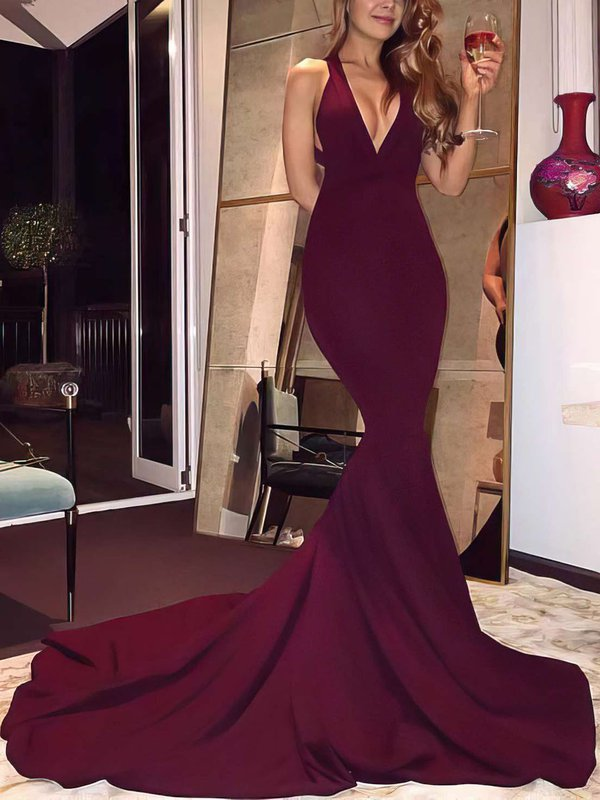 Open Back Mermaid V Neck Beautiful Long Prom Dresses