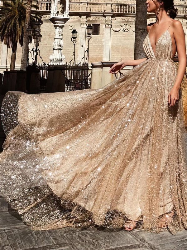 Sparkle & Shine A Line Champagne Beautiful Long Prom Dresses