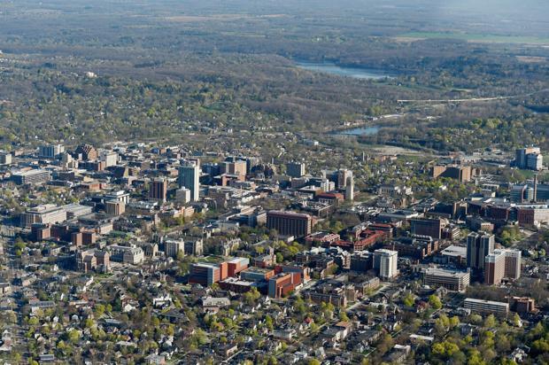72 aerial photos of the Ann Arbor area