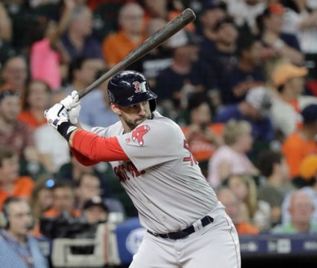 Boston Red Soxs J D Martinez Bats Against The Houston Astros During The Fourth Inning Of A