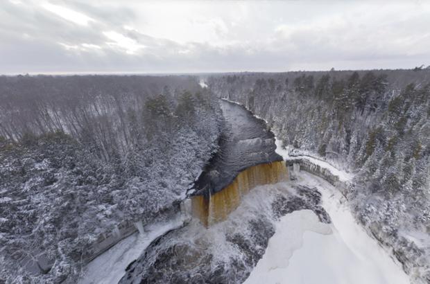 Wallpaper Scenes Of Fall Tahquamenon Falls Aerial Panorama Proves Beauty Of