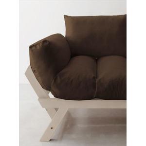 ソファー 2.5人掛け 座面カラー:ブラウン フレームカラー:ホワイト 北欧デザイン天然木フレームソファ Lapua ラプア