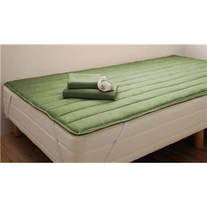 脚付きマットレスベッド セミシングル 脚15cm オリーブグリーン 新・ショート丈ボンネルコイルマットレスベッド
