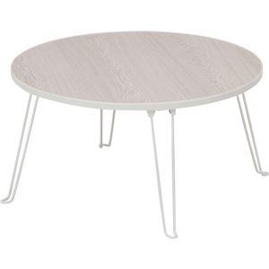 北欧風 ローテーブル/コーヒーテーブル 【円形 ホワイトウォッシュ】 直径60cm 折りたたみ 『丸60』 〔リビング ダイニング〕