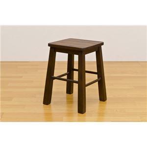スツール(作業椅子 ベンチ) 木製 ブラッシング加工 ハープ ダークブラウン 【完成品】