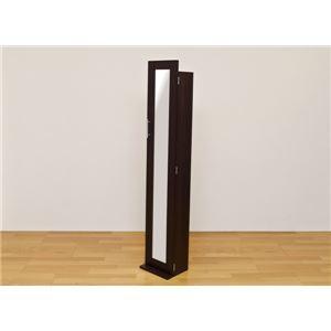 収納付きスタンドミラー/全身姿見鏡 【ダークブラウン】 幅30cm×奥行24cm×高さ160cm 可動棚6枚付き