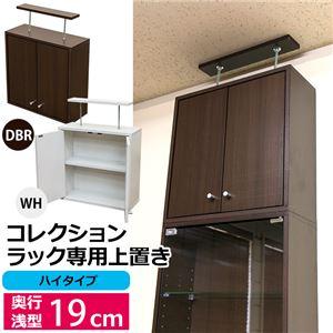 コレクションラック/収納棚 【浅型専用上置き】 ハイタイプ ダークブラウン