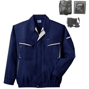 空調服 綿・ポリ混紡長袖作業着 K-500N 【カラー:ネイビー サイズ XL】 リチウムバッテリーセット