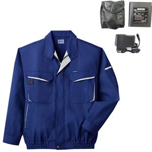 空調服 綿・ポリ混紡長袖作業着 K-500N 【カラー:ブルー サイズ L】 リチウムバッテリーセット