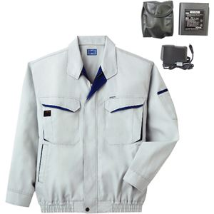 空調服 綿・ポリ混紡長袖作業着 K-500N 【カラー:シルバー サイズ M】 リチウムバッテリーセット