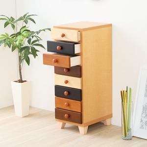 ナチュラル タワーチェスト/収納棚 【幅30cm 8段】 スリム 木製/天然木使用 日本製 『wrobe-ローブ-』 【完成品】