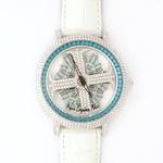 アンコキーヌ ネオ 45mm バイカラー ミニクロス シルバーベゼル インナーベゼルブルー ホワイトベルト アルバ 正規品(腕時計・グルグル時計)