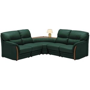 コーナーソファーセット 5点(コンセント付き) 材質:合成皮革(合皮) 肘付き グリーン(緑) 【完成品】
