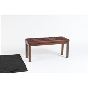 ダイニングベンチチェア(スツール) 幅89cm 張地:合成皮革/合皮 木製脚   ブラウン
